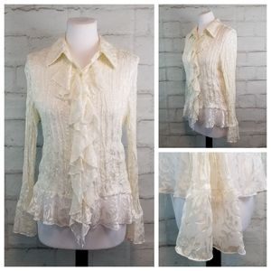 Coldwater Creek M White Ruffled Long Sleeve Blouse